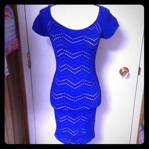 Bebe Blue Netted Bodycon Dress